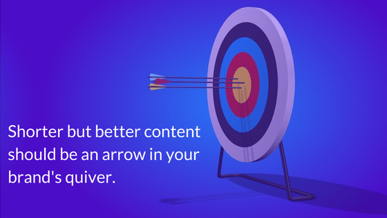 Arrows in target depicting how brands need shorter content as an arrow in their content marketing quiver