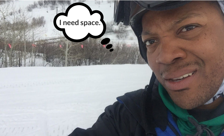 Skier taking selfie